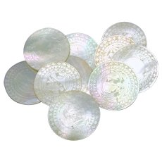 Set 10 Chinese engraved circular Mother of Pearl game chips 1800's #2
