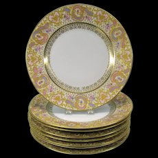 Set 8 Ernst Wahliss Wien Austria porcelain dinner plates 10.5 inches paste gold with pink/blue/purple #2