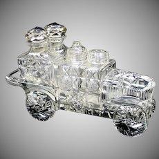 American Brilliant Period cut glass automobile motor car condiment cruet set