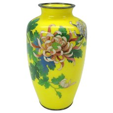 Vintage yellow ground Japanese cloisonne vase with Chrysanthemums #1