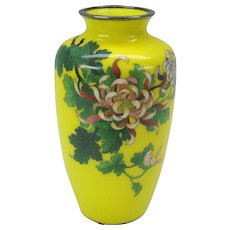 Vintage yellow background Japanese cloisonne vase with Chrysanthemums #2