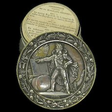 1812 silvered bronze box holding a copy of the original Spanish Constitution 1812-18143