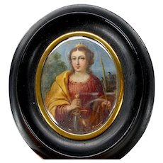 Late 18th or early 19th Century painted portrait on tin of a warrior Lady Saint