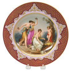 """Antique Royal Vienna porcelain hand painted cabinet plate 9 1/2"""" Cherub tied to a tree"""