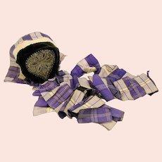 Antique velvet coiffe bonnet with metallic thread embroidery & plaid ribbon