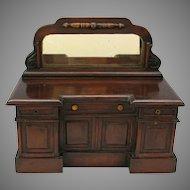 Mid Victorian miniature dolls side board bureau tea caddy