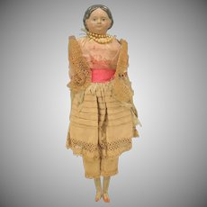 "Antique 12"" paper papier mache doll with covered wagon hair"