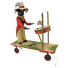 Antique Black boy musician German bisque head automaton platform pull toy