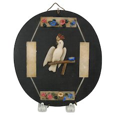 Rarest Antique applied Pietra Dura marble plaque of a Cockatoo bird on a swing