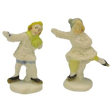 Pair German snowed bisque Ice skater cake decorations Boy & girl colored caps