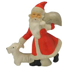 "4"" tall Antique German bisque Santa cake decoration ornament Santa with Scotty Dog"