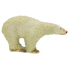 "Vintage small snowed bisque cake decoration of a Polar bear 1"" by 1 3/4"""