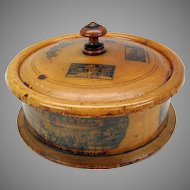 Big German treen wood Master spice box with 7 small boxes inside-Mauchlin ware stencil decorated