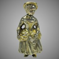 """Vintage 800 silver figural Lady shaker with gilded highlights  4 1/2"""" tall"""