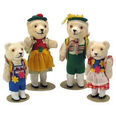 Vintage US Zone Germany glass eyed dressed teddy bear family figures