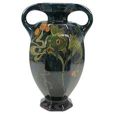 Art Nouveau Rozenburg pottery vase with fish-artist signed