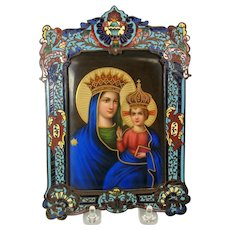 Incredible Religious Madonna painting on porcelain in champleve frame
