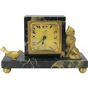 Art Deco marble and gilt bronze desk clock with Cat and bird