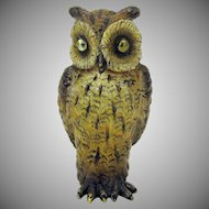 Unusual antique cold painted Vienna bronze Owl with glass eyes