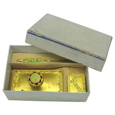 Antique ormolu and enamel desk set original box blotter, stamp box and letter opener