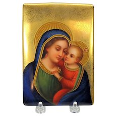 Antique lavish hand painted porcelain plaque Mary and baby Jesus