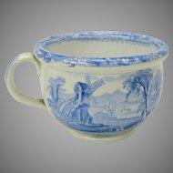Antique blue & white transfer ware child's miniature chamber pot potty