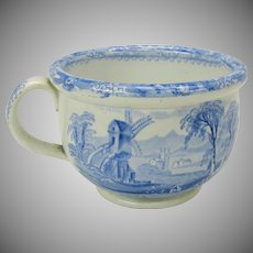 Antique blue & white transfer ware child's miniature chamber pot potty