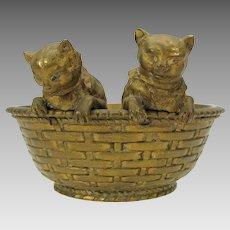 Antique Austrian bronze 2 kittens or cats in a woven basket