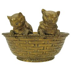 Antique Austrian bronze 2 kittens or cats in a woven basket