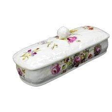 Antique decorated soft paste porcelain lidded toothbrush holder