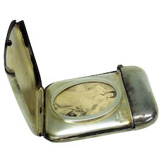 Antique sterling silver vesta with hidden portrait of beautiful Lady-match safe striker