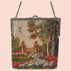 Vintage micro bead Ladies purse with a Garden scene