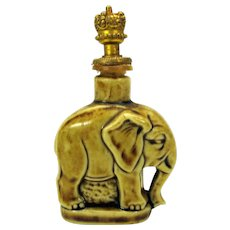 Vintage German bisque Elephant crown top perfume bottle