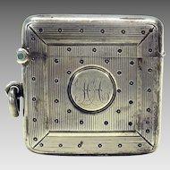 Antique heavy square sterling silver chatelaine vesta match safe striker