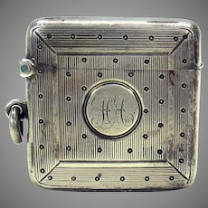 Antique heavy square sterling silver chatelaine vesta match safe striker