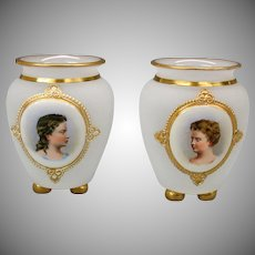 Pair of opaline glass glass cabinet vases with hand painted portraits