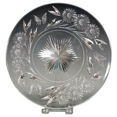 Vintage Pairpoint American brilliant cut glass plate with butterflies and flowers