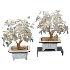 Pair old Chinese carved rock crystal miniature hardstone trees in white cloisonne bases
