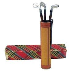 Vintage American novelty pencil figural golf clubs in bag holder in original box