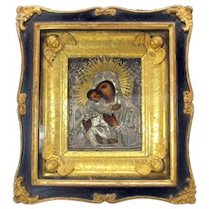 Antique Russian Icon in shadow box frame with gilded angels