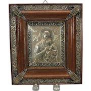 Vintage silvered icon in original embellished frame