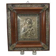 Vintage silvered icon in original embellished frame