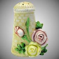 Vintage Schafer Vater German bisque hatpin holder with roses