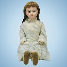 """Closed mouth French bisque Tete Jumeau doll 24"""" with 4 outfits AS IS"""