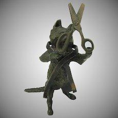 Antique Vienna bronze Seamstress cat figure holding scissors and ribbon