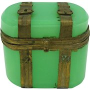 Antique opaline glass dresser box casket with brass luggage trim Grand Tour