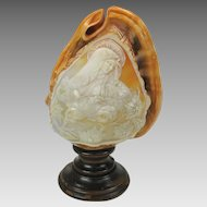 Antique carved shell cameo lamp Virgin Mary Madonna in Heaven