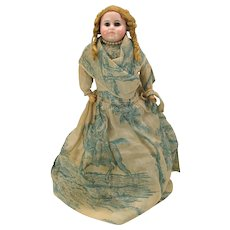 Antique closed mouth German bisque Belton type shoulder head doll with killer outfit