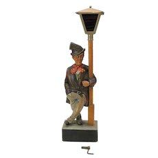"""Vintage Anri carved wood whistling clockwork Automaton 19"""" tall"""