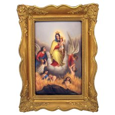 Unusual antique religious hand painted porcelain plaque-Angels lifting people from Hell